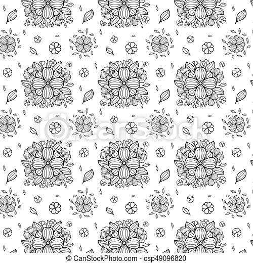 Vector black and white flower seamless pattern simple monochrome vector black and white flower seamless illustrationcsp49096820g mightylinksfo