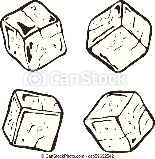 vector black and white ice cubes transparent ice cube chunks isolated on white background https www canstockphoto com vector black and white ice cubes 59632542 html