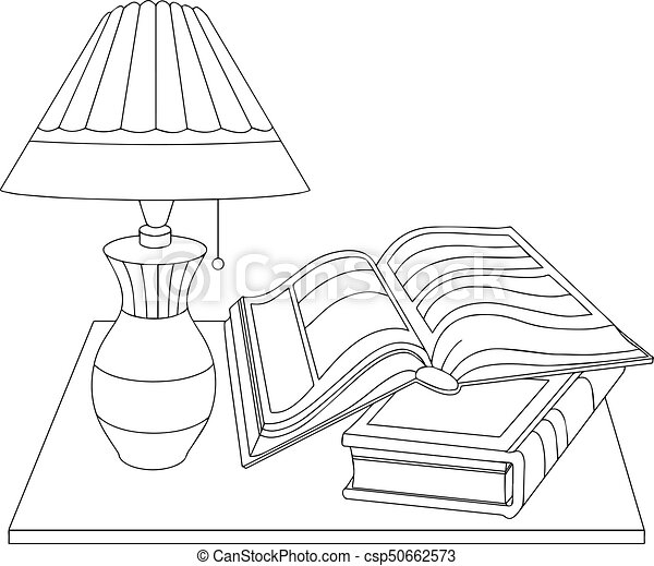 Vector Black And White Illustration Of A Table With A Lamp And Books
