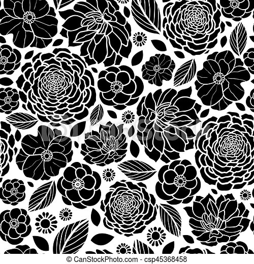 Vector Black And White Mosaic Flowers Seamless Repeat Pattern
