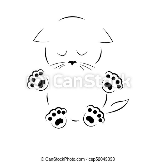 vector black and white outline drawing sad kitty with paws vector