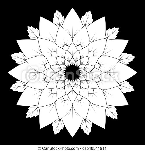 Vector Black And White Round Floral Natural Mandala Background
