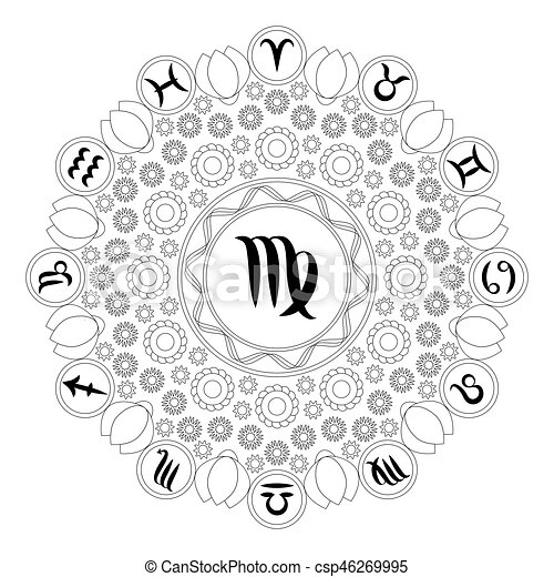 Pisces Zodiac Sign Artwork, Adult Coloring Book Page, Beautiful ... | 470x450