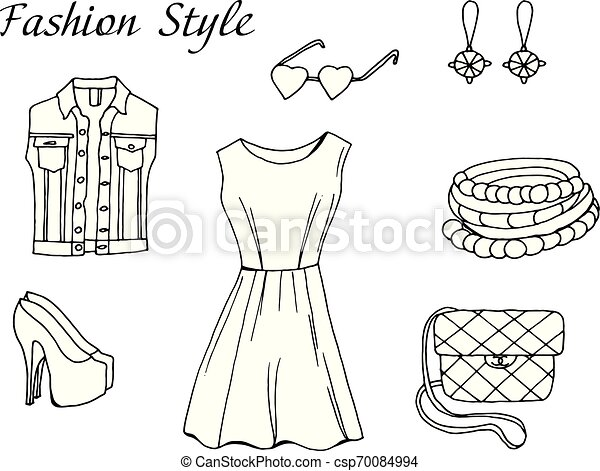 Vector Black And White Sketch Fashion Outfit Vector Hand Drawn Sketch Black And White Fashion Outfit Shop Clothing Elements