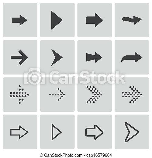 Vector black arrows icons set - csp16579664