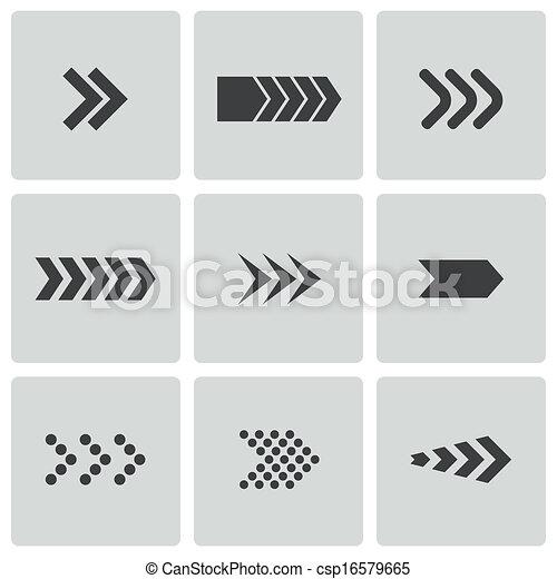 Vector black arrows icons set - csp16579665