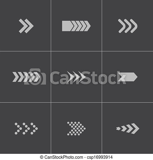 Vector black arrows icons set - csp16993914