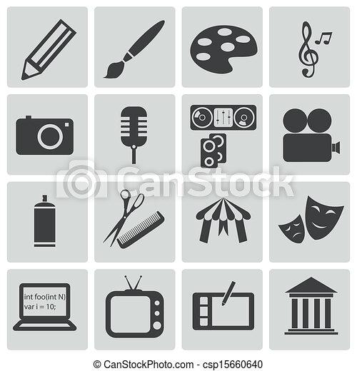 Vector black art icons set - csp15660640
