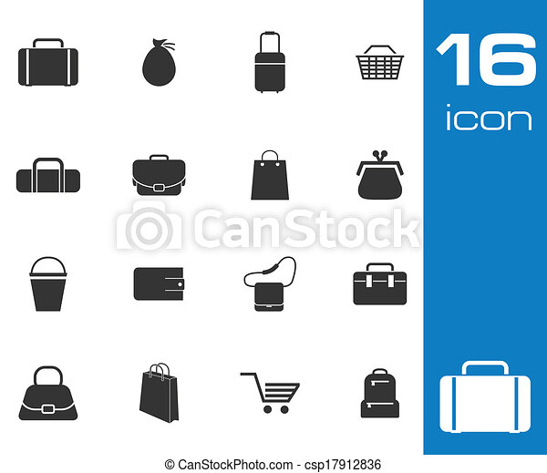 Vector black bag icons set on white background - csp17912836