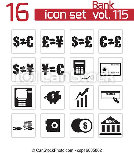 Vector black  bank   icons set - csp16005882