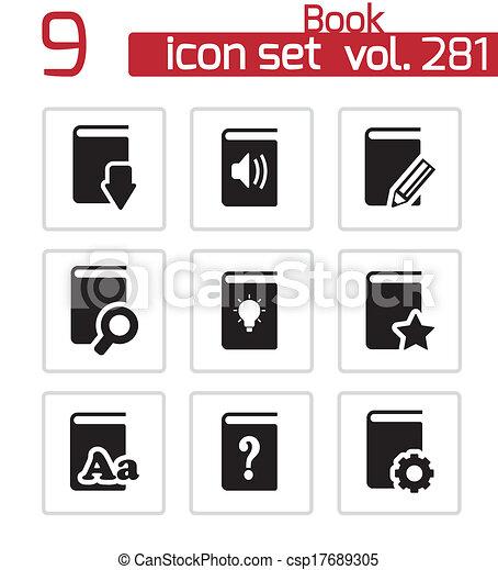 vector, black , boekjes , set, iconen - csp17689305