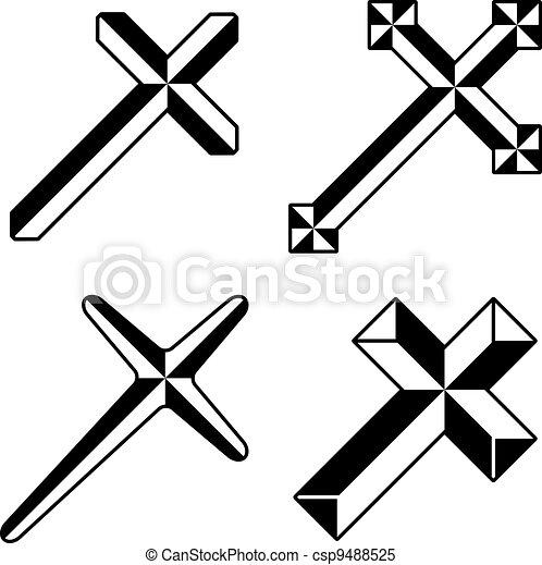 vector black christian crosses - csp9488525