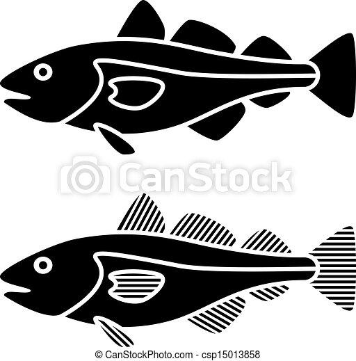 vector black cod fish silhouettes - csp15013858