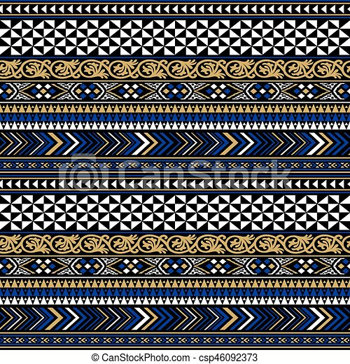 Vector black colorful tribal seamless pattern - csp46092373