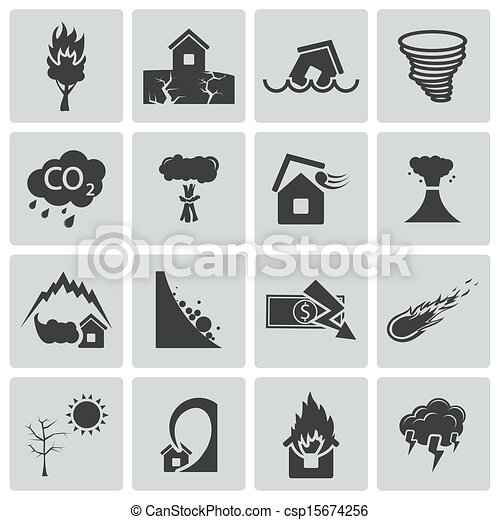 Vector black  disaster icons set - csp15674256