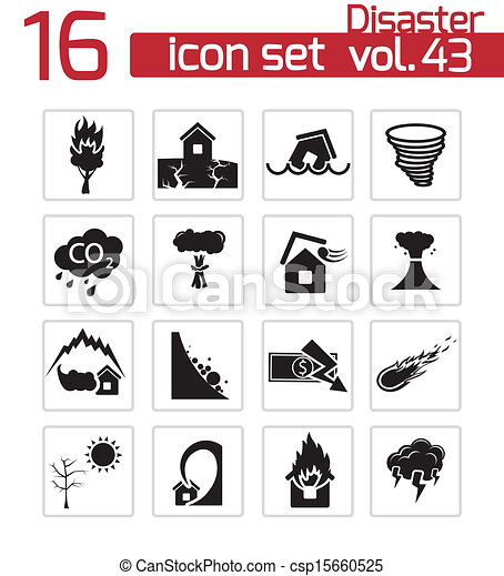 Vector black disaster icons set - csp15660525