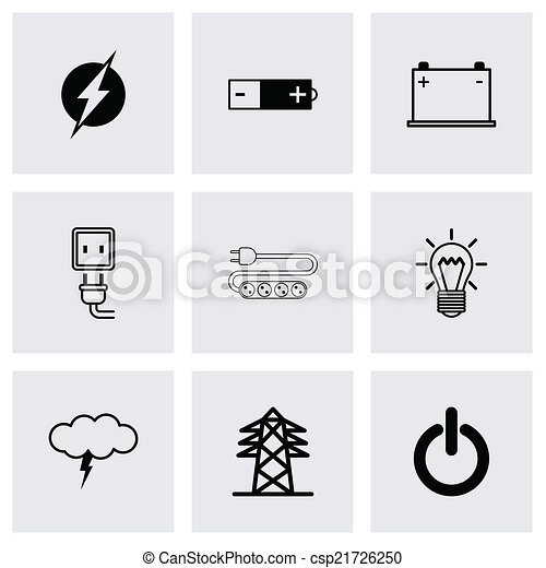 Vector black electricity icons set - csp21726250