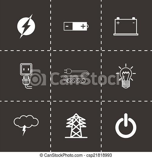 Vector black electricity icons set - csp21818993