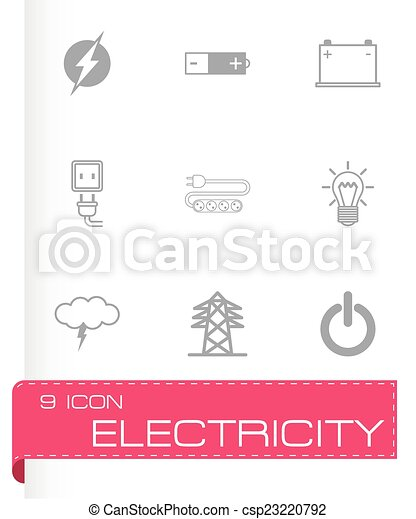 Vector black electricity icons set - csp23220792