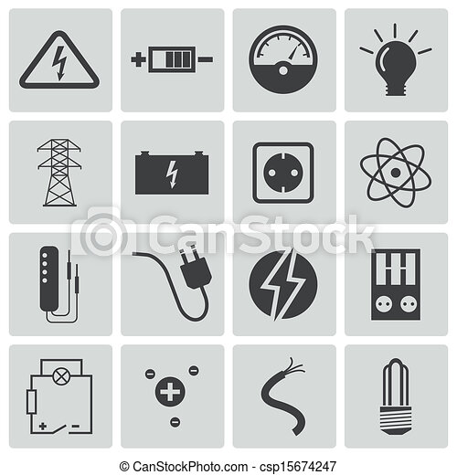 Vector black  electricity icons set - csp15674247