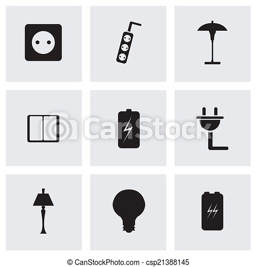 Vector black electricity icons set - csp21388145