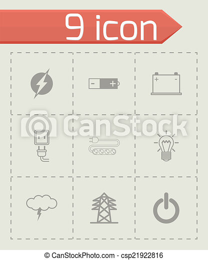 Vector black electricity icons set - csp21922816