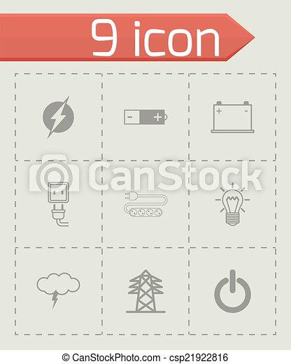 Vector black electricity icons set - csp21922816