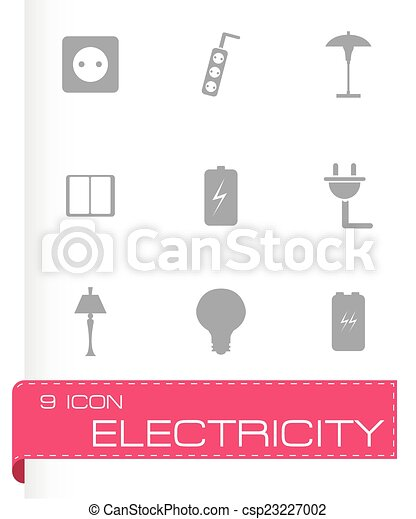 Vector black electricity icons set - csp23227002