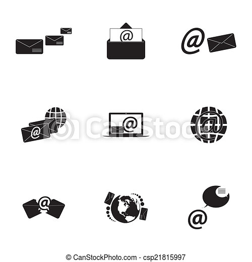 Vector black email icons set - csp21815997