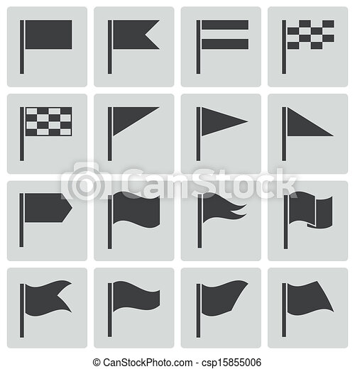 Vector black flag icons set - csp15855006