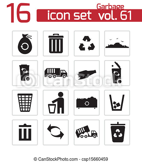 Vector black garbage icons set - csp15660459