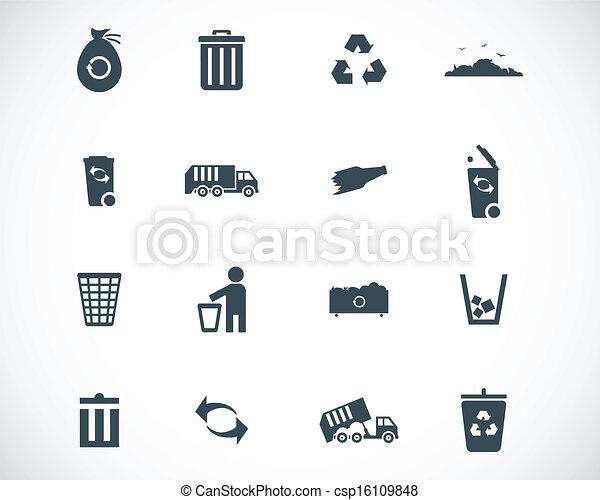 Vector black  garbage icons set - csp16109848