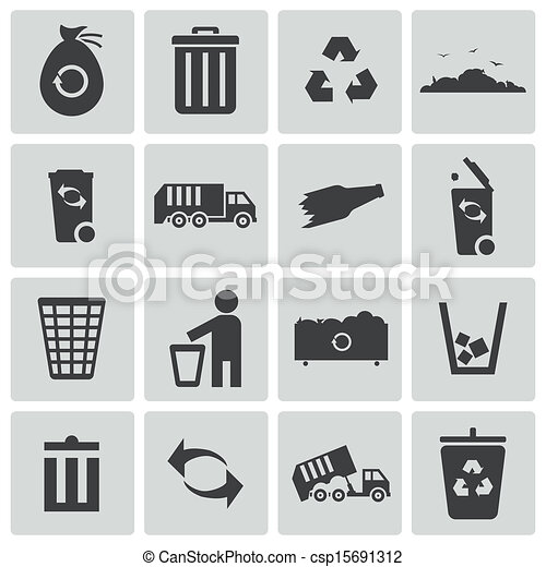 Vector black  garbage icons set - csp15691312