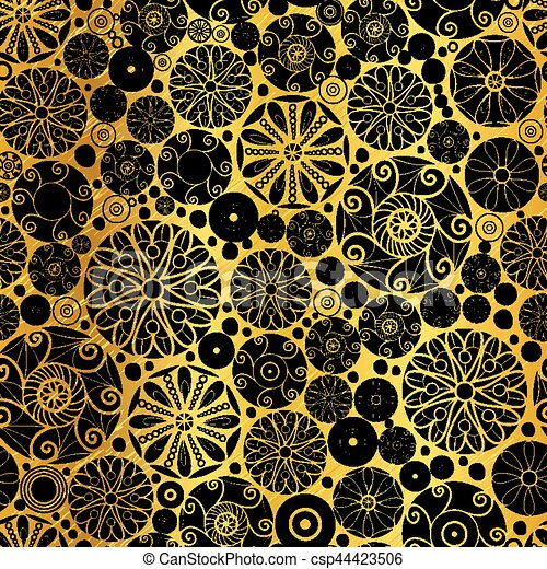 Vector Black Gold Abstract Doodle Circles Seamless Pattern Background Great For Elegant Texture Fabric Cards Wedding Invitations Wallpaper