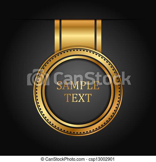 vector, black , goud, etiket - csp13002901