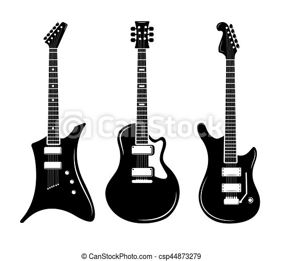 vector black guitar icons acoustic and electric guitars vectors rh canstockphoto com