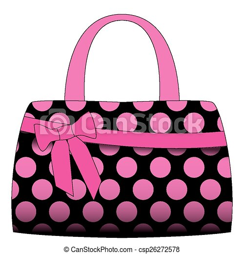 vector black handbag in pink polka dots on a white vectors rh canstockphoto com purses clipart pinterest purse clipart black and white