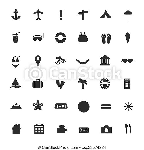 Vector black icons of tourism and travel. - csp33574224