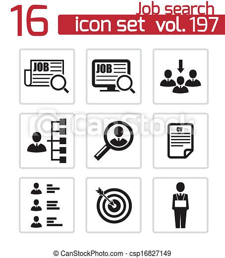 Vector black job search icons set - csp16827149