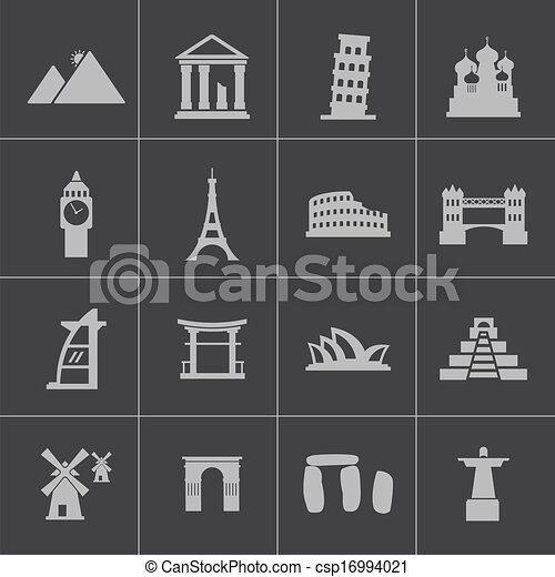 Vector black landmark icons set - csp16994021