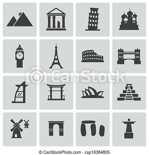 Vector black landmark icons set - csp16384805
