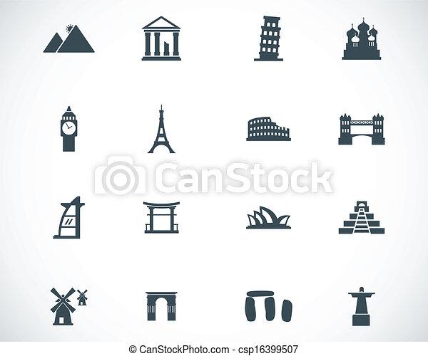 Vector black landmark icons set - csp16399507