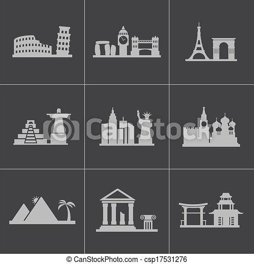 Vector black landmarks icons set - csp17531276