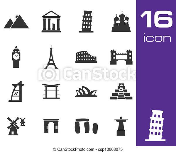 Vector black landmarks icons set - csp18063075