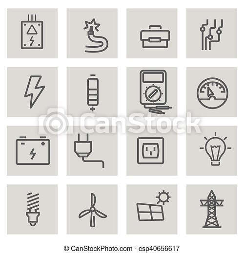 Vector black line electricity icons set - csp40656617