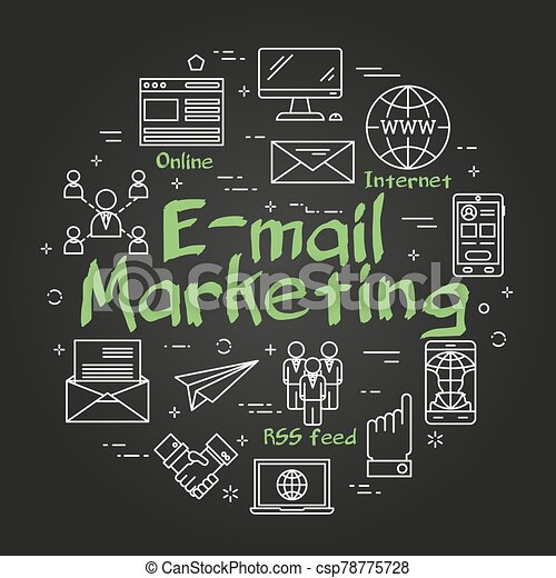 Vector black linear round concept of e-mail marketing - csp78775728