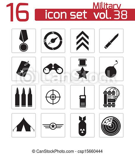 Vector black military icons set - csp15660444