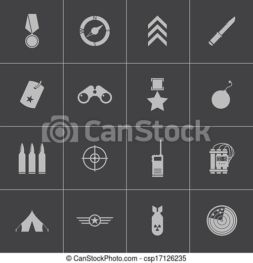 Vector black  military icons set - csp17126235