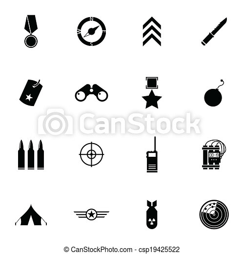 Vector black  military icons set - csp19425522