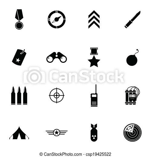 Vector black  military icons set - csp19425522